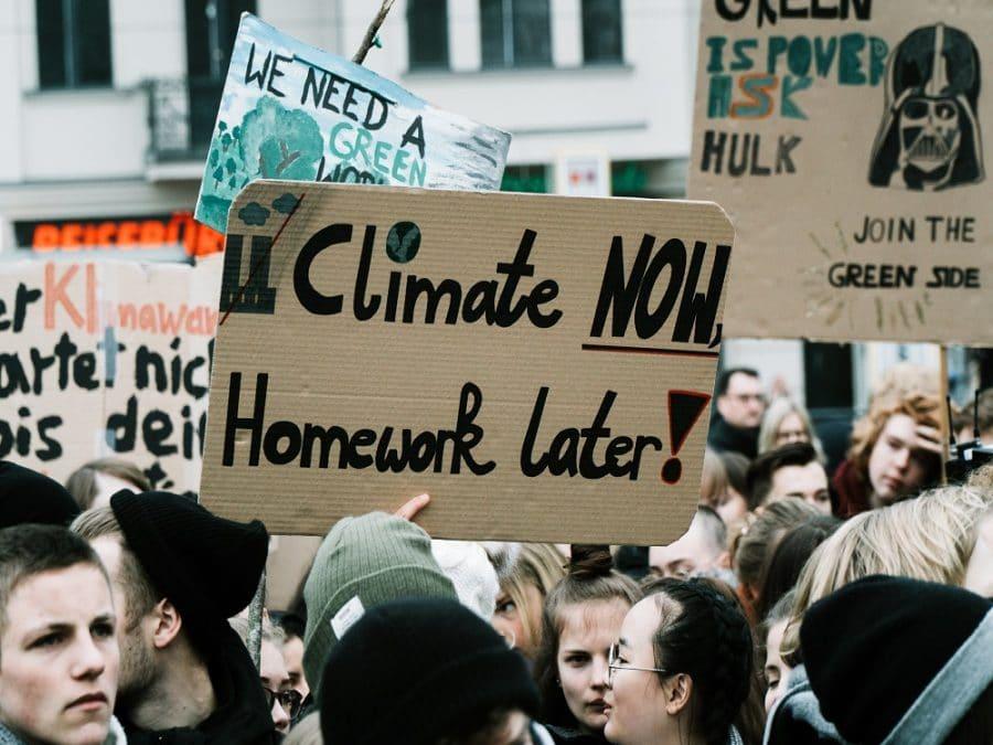 Studenti in marcia durante lo sciopero per il clima