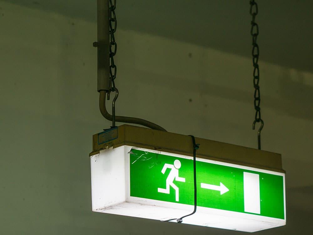 """Cartello neon """"Uscita di emergenza"""""""