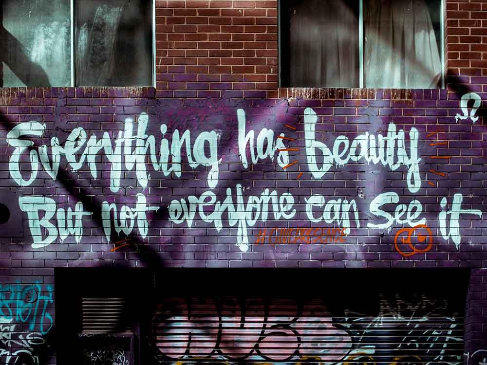 Graffiti: Ogni cosa ha la sua bellezza, ma non tutti la vedono