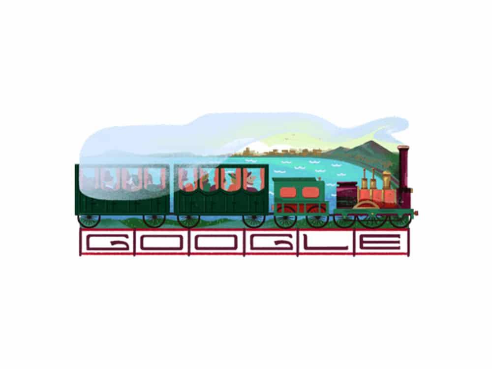 Inaugurazione della prima linea ferroviaria italiana Google Doodle
